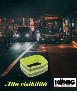 Protezione passiva tramite fasce fluorescenti da applica a strap sulla caviglia